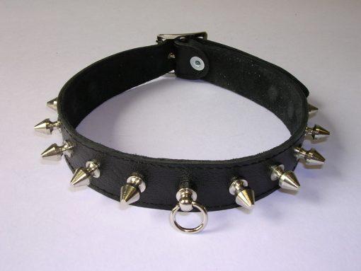 Halsband 2.5 cm. breed, versierd met spikes - Leer #7535