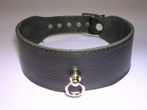 Halsband 4 cm. breed, glad - Leer #7541