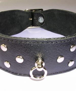 Halsband 4 cm. breed, versierd met nieten - Leer #7542