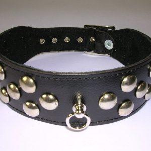 Halsband 4 cm. breed, versierd met studs - Leer #7543