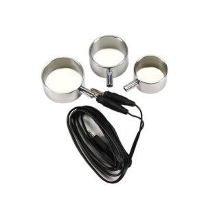Electro Sex Aluminium Cock ringen, uni-polair, 3 st. #7871