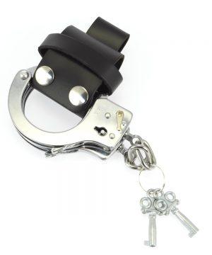 Cuff holder met drukknopen - leer #7579