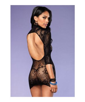 Zwart kanten jurkje met hoge kraag