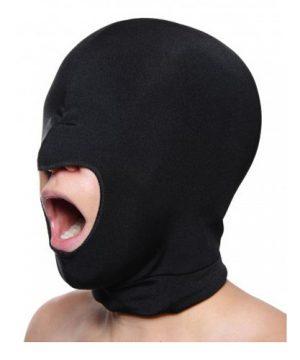 Zwart rekbaar masker open mond
