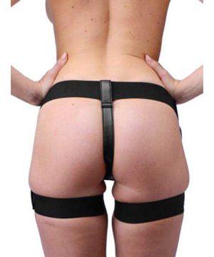 Zwart strap on harnas jarretel stijl