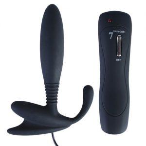 Zwarte anaal vibrator met zeven snelheden
