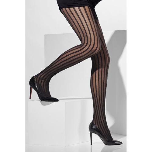 Gestreepte Panty - Zwart