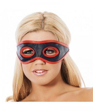 Leder open oogmasker versierd met rode bies