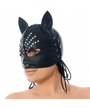 Lederen Masker met oren, versierd met nieten