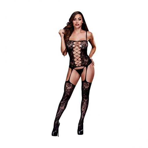 Corset Front Suspender Lace Bodystocking