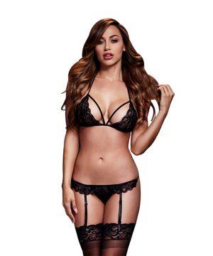 Baci - Lacy Bra Garter & Open Kruis Panty One Size - Zwart