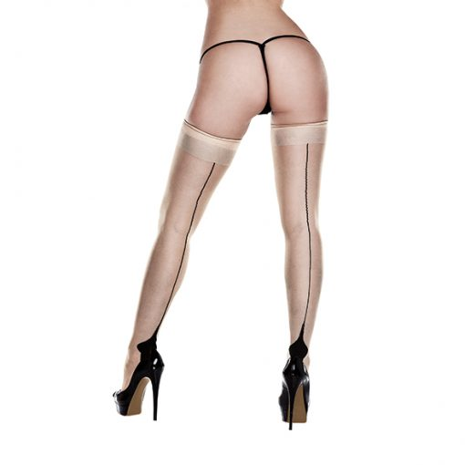 Baci - Nude Opaque Cuban Heel Thigh Highs