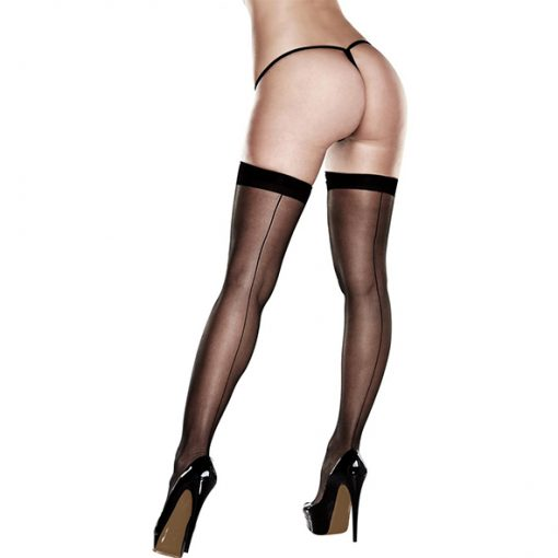 Baci - Sheer Thigh Highs With Backseam With Banded Silicone Stay-Up One Size
