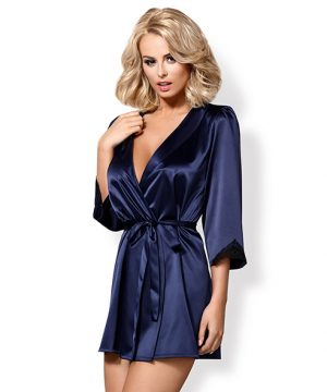 Obsessive - Satinia Robe & Thong Donkerblauw