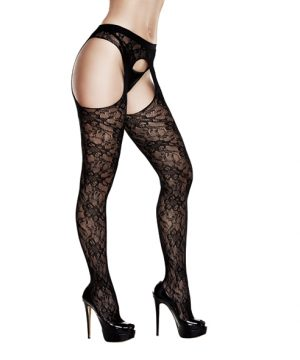 Baci - Crotchless Lace Suspender Hose
