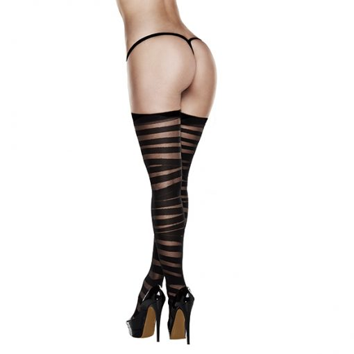 Baci - Criss Cross Sheer And Opaque Thigh Highs with Silicone Stay Up