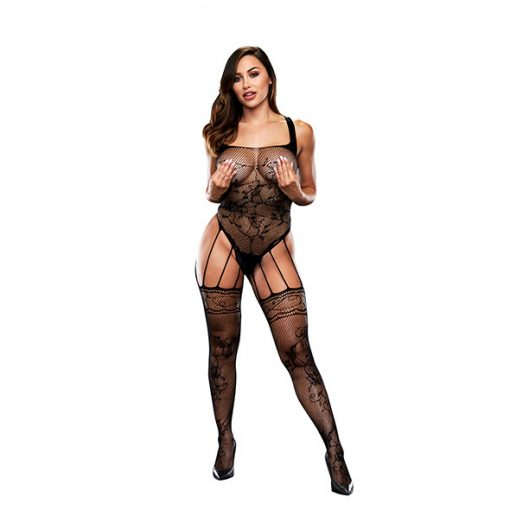 Baci - Strappy Bodystocking with Garters