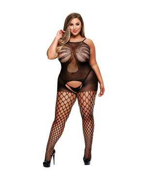 Baci - Crotchless Jacquard Bodystocking