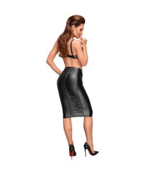Wetlook skirt with handmade pleats