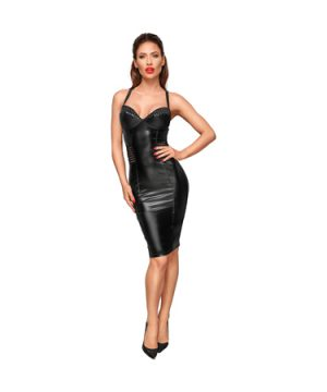 Knee-length wetlook dress
