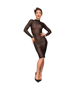 Striped knee-length tulle dress