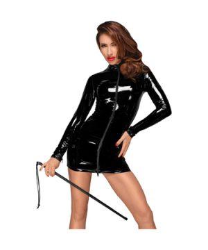 Long sleeved PVC mini dress