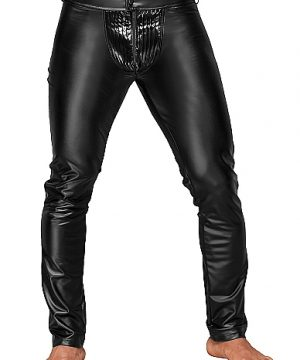 Wetlook trousers with PVC pleats