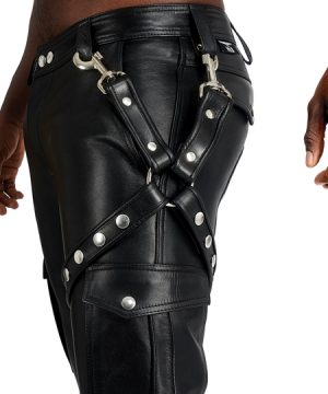 Mister B Leather Leg Harness Black