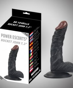 Power Escorts - Rocket John - 18,5 Cm - Realistic Dildo - Black