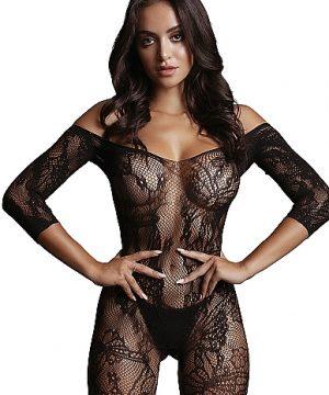 Lace Sleeved Bodystocking - Black