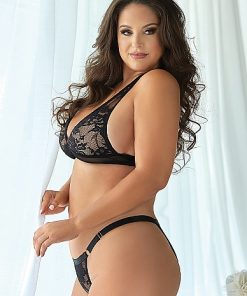 Lace and Mesh bralette and Panty - Black
